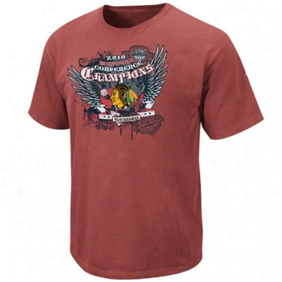 Chicago Negro Hawks Attire: Elevated Chicago Dark Hawks Brick 2010 Nhl Western Conference Champions Ultimate Champions Pigment Dyed T-shirt