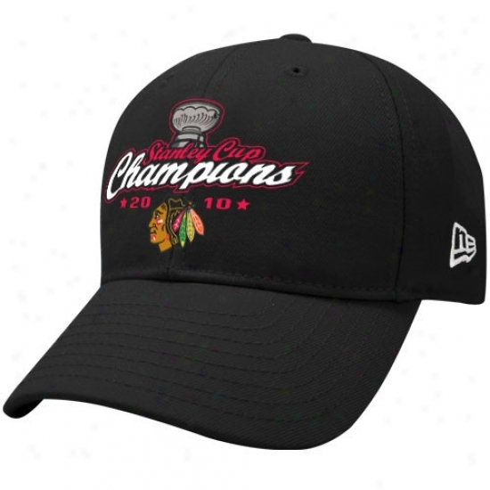 Chicago Black Haws Cap : New Era Chicago Black Hawks Black 2010 Nhl Stanley Cup Champions Stuctured Wool Adjustable Crown