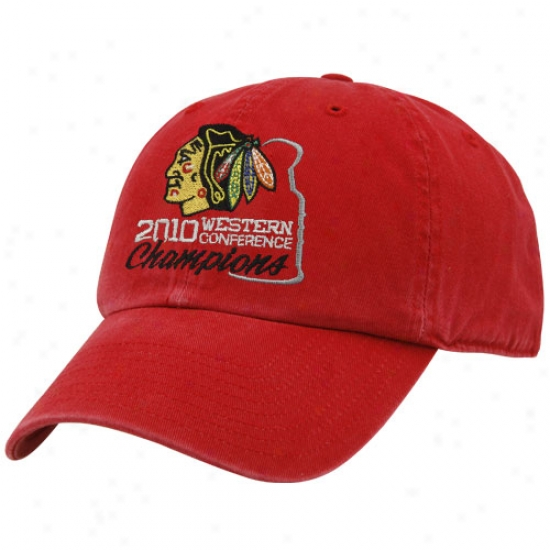 Chicago Black Hawks Caps : Twins '47 Chicago Black Hawks Red 2010 Nhl Western Conference Champions Adjustable Slouch Caps