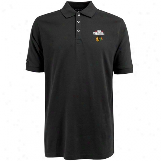 Chicago Black Hawks Clothing: Antigua Chicago Dismal Hawks Black 2010 Nhl Stanley Cup Champions Classic Pique Polo
