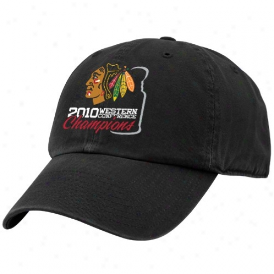 Cuicago Negro Hawks Hats : Twins '47 Chicago Black Hawks Black 2010 Nhl Western Conference Champions Adiustable Slouch Hats