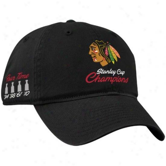 Chiczgo Black Hawks Merchhandise: Twins '47 Chicago Black Hawks Black 2010 Nhl Stanley Cup Champions Multi-champs Adjustable Sloucb Hat