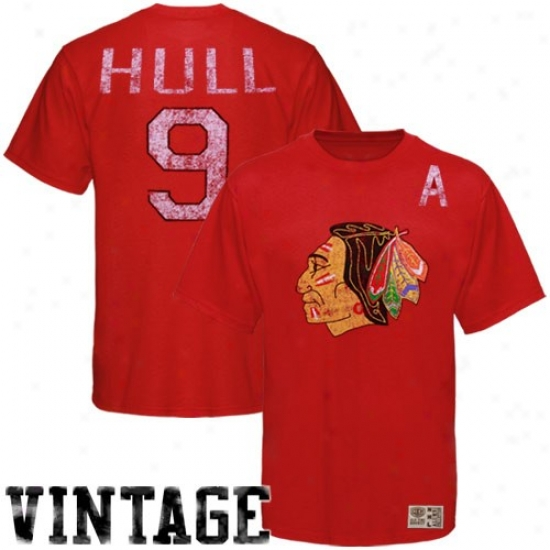 Chicago Black Hawka Shirt : Old Time Hockey Chicago Black Hawks #9 Bobby Hull Red Alumni Vintage Player Shirt