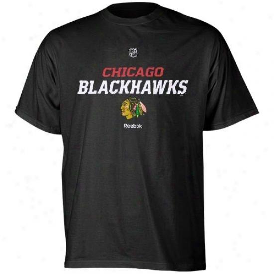 Chicago Black Hswks Shirt : Reebok Chicago Wicked Hawks Black Team Speedy Shirt