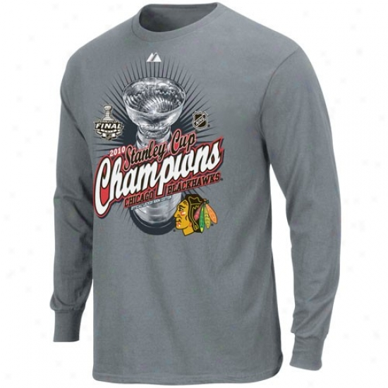 Chicago Black Hawks T Shirt : Majestic Chicagk Black Hawks Graphite 2010 Nhl Stanley Cup Champions Beyond Victory Official Locker Room Long Sleeve T Shirt