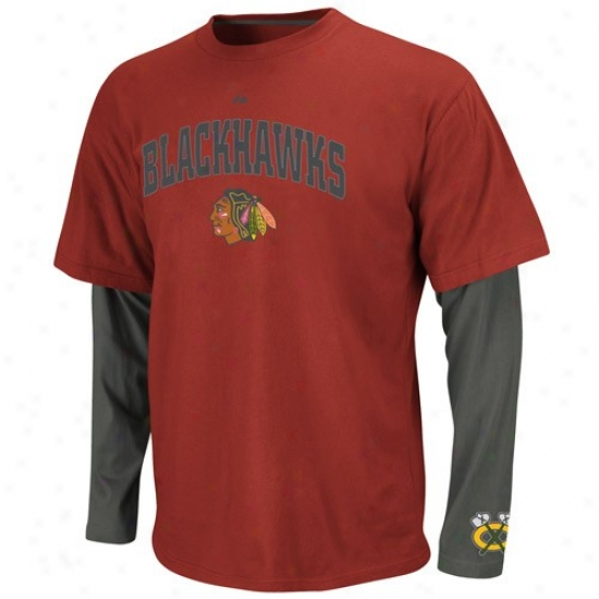 Chicago Black Hawks T-shirt : Majestic Chicago Black Hawks Charcoao-red Official Scorer Double Layer Premium T-shiry