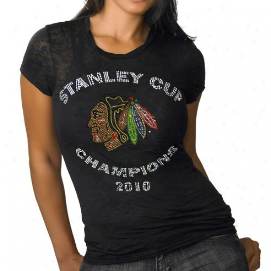 Chicago Black Hawks Tee : Chicago Black Hawks Ladies Black 2010 Nhl Stanley Cup Champions Premium Burnout Rhinestone Tee