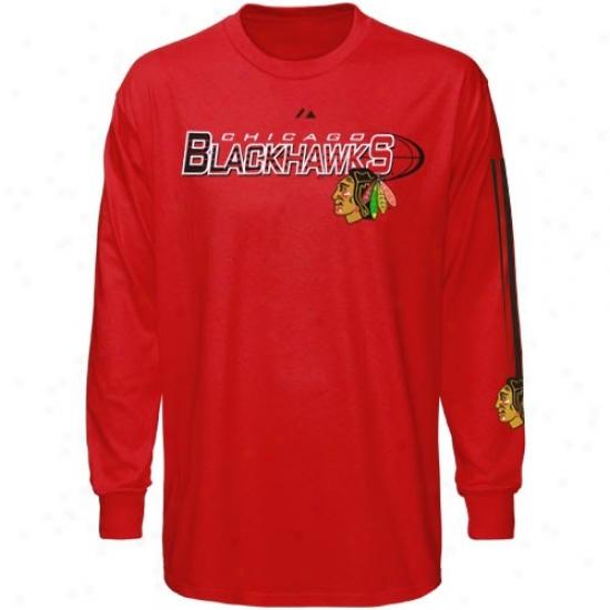 Chixago Black Hawks Tee : Majestic Chicago Black Hawks Red Extreme Long Sleeve Tee