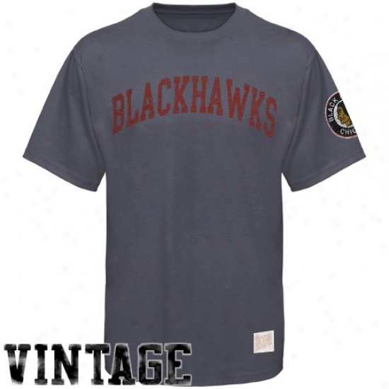 Chicago Black Hawks Tees : Chicago Black Hawks Charcoal Word Vintage Premium Tees