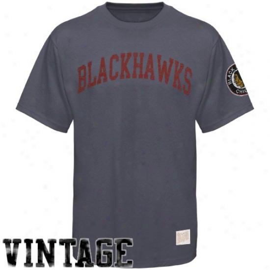 Chicago Black Hawks Tees : Chicago Black Hawks Charcoal Word Vintage Premium Tees