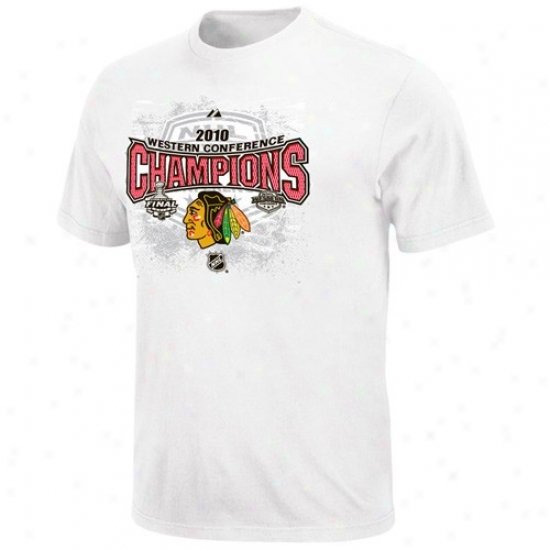 Chicago Black Hawks Tshirts : aMjestic Chicago Wicked Hawks 2010 Nhl Western Conference Chsmpions Youth White Full Glory Official Locker Room Tshirts