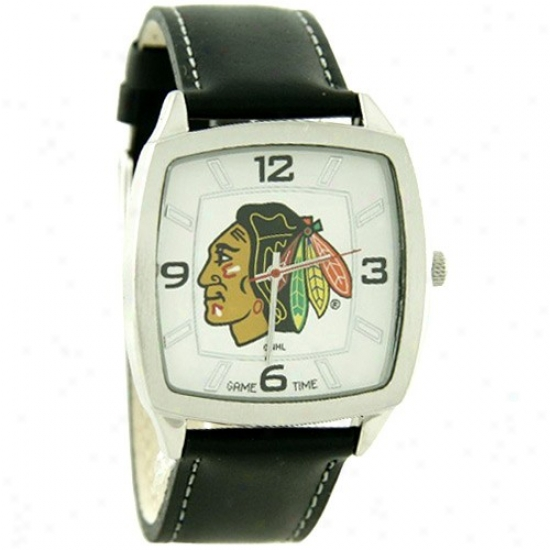 Chicato Black Hawks Watch : Chicago Black Hawks Retro Watch W/ Leather Band