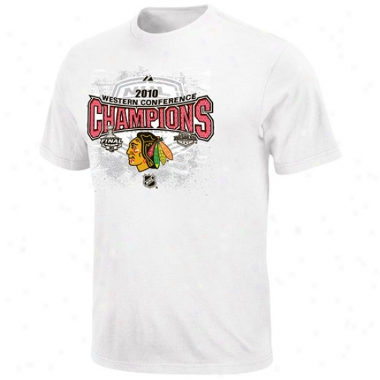 Chicago Blackhawk Attire: Majestic Chicago Blackhawk 2010 Nhl Western Conference Champions Of a ~ color uFll Glory Official Locker Room T-shirt