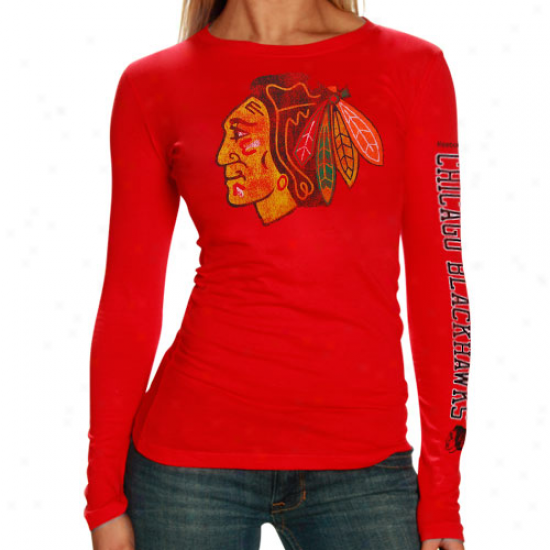 Chicago Blackhawk Attire: Reebok Chicago Blackhawk Ladies Red Ginormou Logo Premium Slow Sleeve T-shirt