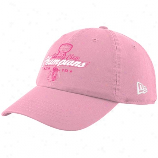 Chicago Blackhawk Hats : New Epoch Chicago Blackhawk Ladies Pink 2010 Nhl Stanley Cup Champions Adjustable Slouch Hats