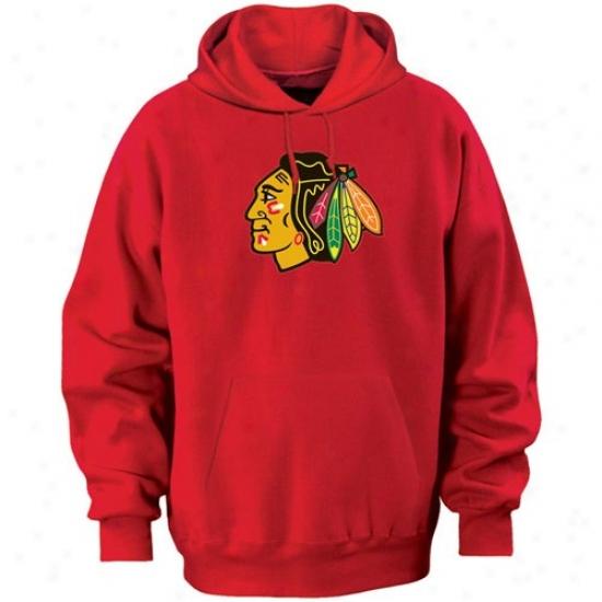 Chicago Blackhawk Hoodie : Majestic Chicago Blackhawk Red Felt Tek Patdh Hoodie