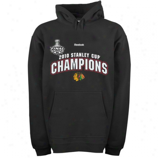 Chicago Blackhawk Hoodie : Reebok Chicago Blackhawk Black 2010 Nhl Stanley Cup Champions Triumphal Arch Hoodie