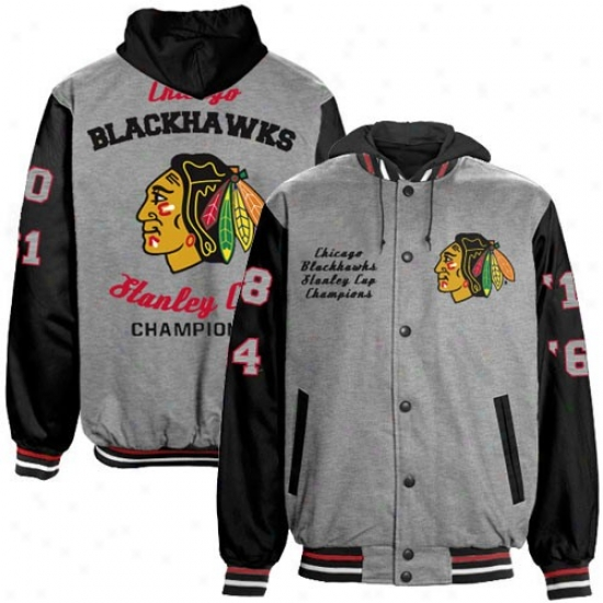 Chicago Blackhawk Hoodies : Chicaog Blackhawk Gray-black 2010 Nhl Stanley Cup Champions Hea\/yweight Filled Button Hoodies Hoodies