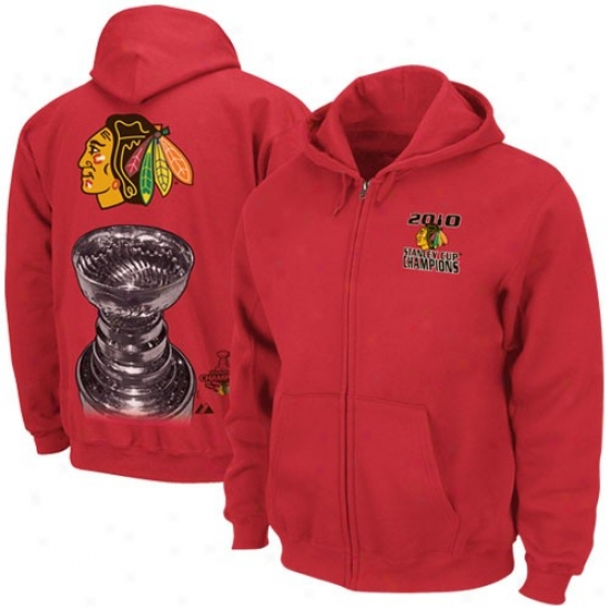 Chicago Blackhawk Hoodies : Chicago Blackhawk Red 2010 Nhl Stanley Cup Champions Hook Check Champions Full Zjp Hoodies