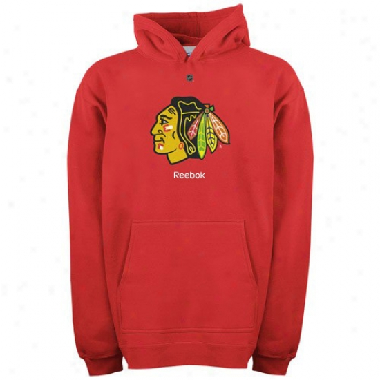 Chicago Blackhawk Hoody : Reebok Chicago Blackhawk Youth Red Primary Logo Hoody