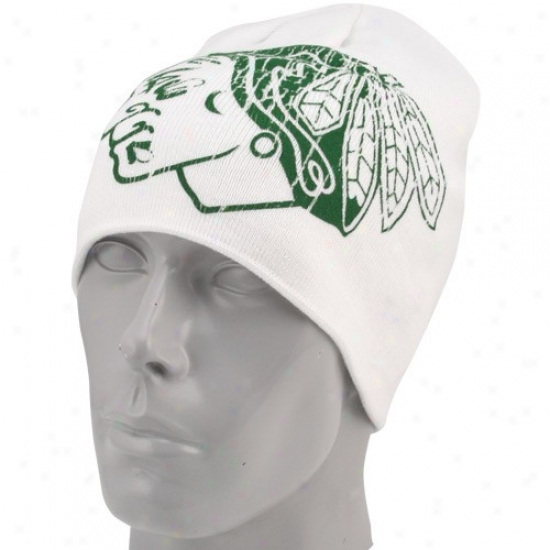Chicao Blackhawk Commodities: Reebok Chicago Blackhawk White St. Patrick's Day Cuffless Knit Beanie