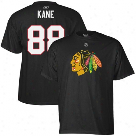 Chicago Blackhawk Shirt : Reebk Chicago Blackhawk #88 Patrick Kane Black Net Player Shirt