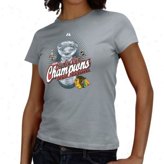 Chicago Blackhawk Shirts : Majestic Chicago Blackhawk Ladies Graphite 2010 Nhl Stanley Cup Champions Beyond Victory Official Locker Room Shirts