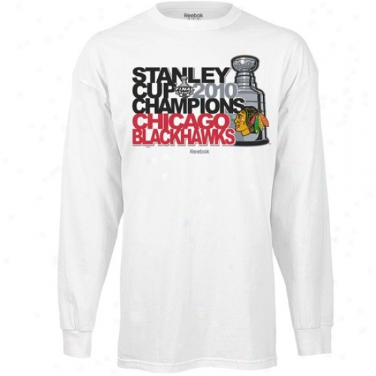 Chicago Blackhawk T-shirt : Reebok Chicago Blackhawk White 2010 Nhl Stanley Cup Champions Powerhouse Long Sleeve T-shirt