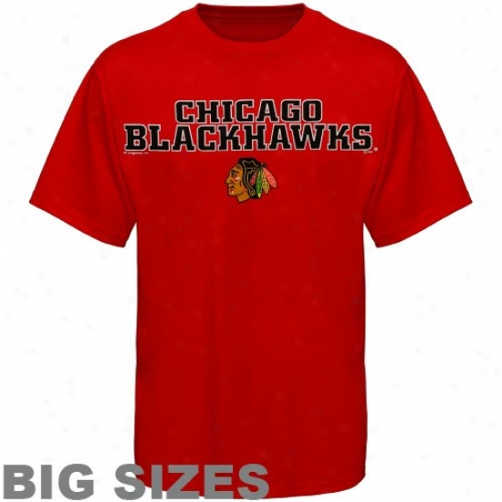 Chicago Blackhawk Tee : Majestic Chicago Blackhawk Red Nhl Victory Big Sizes Tee