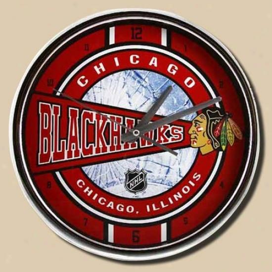 Cbicago Blackhawks 12'' Chrome Clock