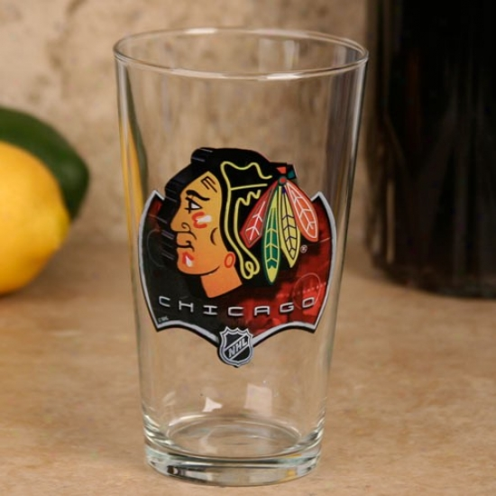 Chicago Blackhawks 17 Oz. Enhanced Hi-def Mixing Glass
