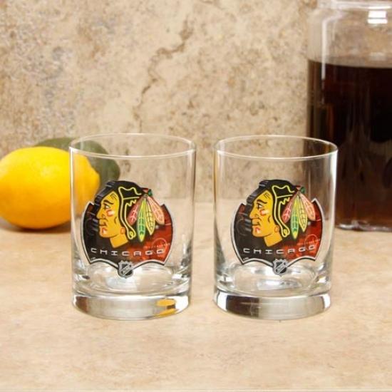 Chocago Blackhawks 2-pack Enhanced Hi-def 14oz. Executive Rocks Glass