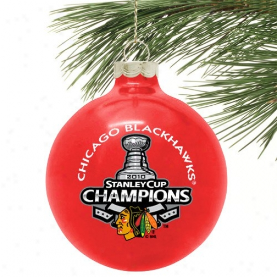 """chicago Blackhawks 2010 Nhl Stanley Cup Champions Red 3 1/4"""" Large Traditional Ornament"""