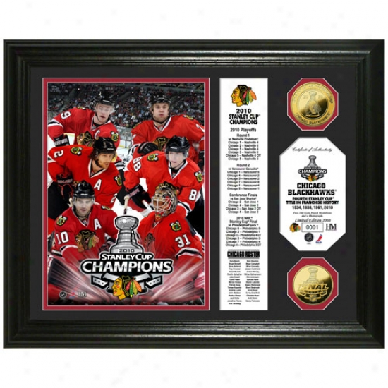 Chicago Blackhawks 2010 Nhl Stanley Chp Champions 24kt Gold Coin Flag Photo Mint