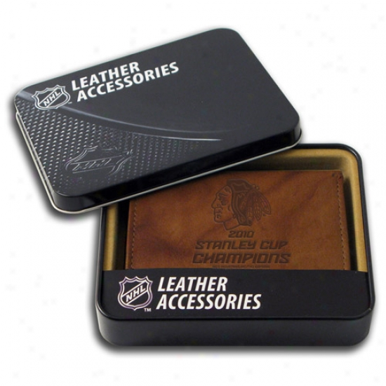 Chicago Blackhawks 2010 Nhl Stanley Cup Champions Brown Leather Embossed Tri-fold Wallet