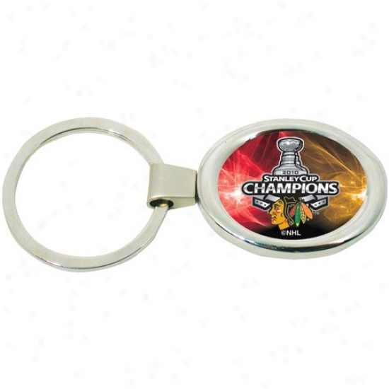 Chicago Blackhawks 2010 Nhl Stanley Cup Champions Deluxe Oval Keychain