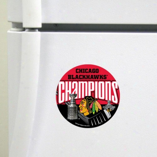 """chicago Blackhawks 2010 Nhl Stanley Cup Champions Red 4"""" Die Cut Magnet"""