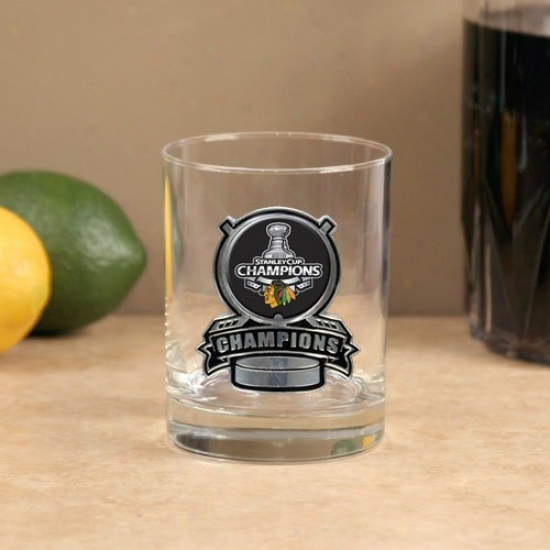 Chicaago Blackhawks 2010 Nhl Stanley Cup Champions 14oz. Pewter Logo Rocks Glass