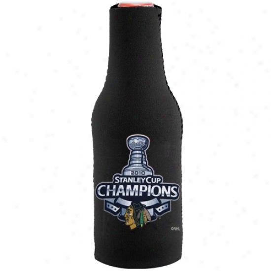 Chivago Blackhawks 2010 Nhl Stanley Cup Champions Black 12oz. Bottle Coolie