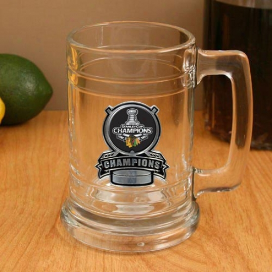 Chicago Blackhawks 2010 Nhl Stanley Cup Champions 15oz. Pewter Logo Glass Tankard