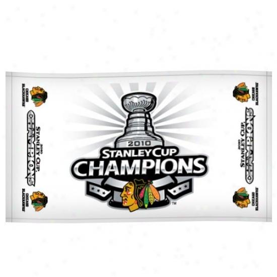 Chicago Blackhawks 2010 Nhl Stanley Cup Champions White Locker Room Towel