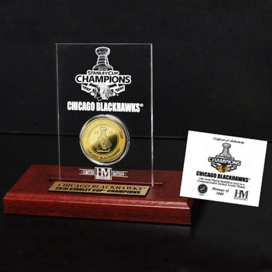 Chicago Blackhawks 2010 Nhl Stanley Cup Champions Engraved Acr6lic With 24kt Gold Champions Coin