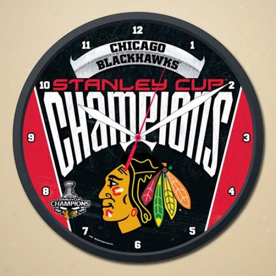 """chicago Blackhawks 210 Nhl Stanley Cup Champions 12"""" Round Wall Clock"""