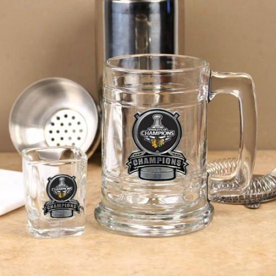 Chicago Blackhawks 2010 Nhl Stanley Cup Champions Pewter Logo Glass Tankard & Square Shot Glass Set