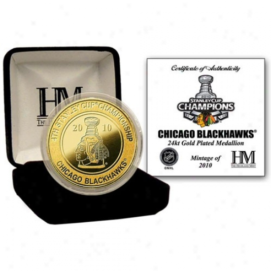 Chicago Blackhawwks 2010 Nhl Stanley Cup Champions 24kt Gold Coin