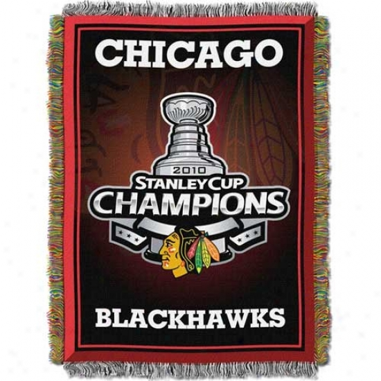 """chicago Blackhawks 2010 Nhl Stanley Cup Champions 48"""" X 60"""" Triple Layered Jacquard Blanket Throw"""