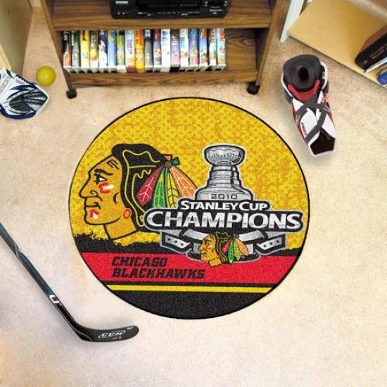 Chicago Blackhawks 2010 Nhl Stanley Cup Champions Rounx Hockey Puck Mat