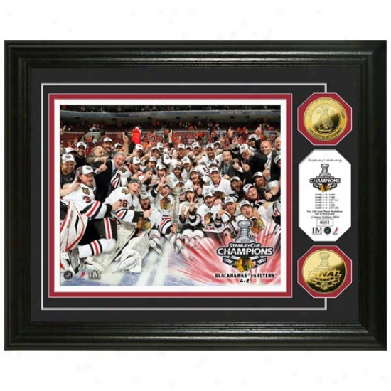 Chicago Blackhawks 2010 Nhl Stanley Cup Champions 24kt Gold Coin Celebration Photo Mint