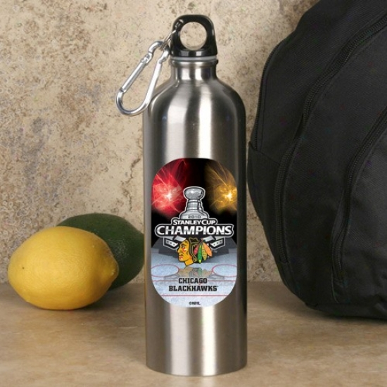 Chicago Blackhawks 2010 Nhl Stanley Cup Champions 750ml Stainless Steel Water Bottle