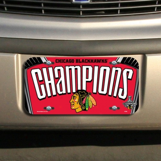 Chicago Blackhawks 2010 Nhl Stanley Cup Champions Red Soft License Plate